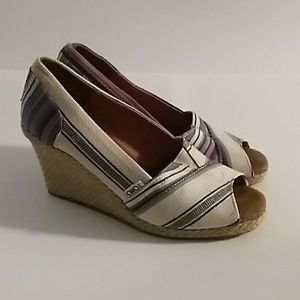 Toms Wedges Espadrilles Canvas Textile 7.5